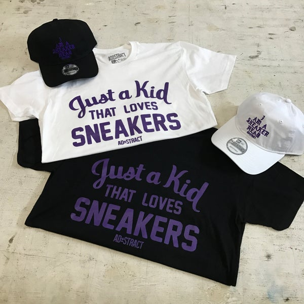 "Image of JUST A KID THAT LOVES SNEAKERS ""PURPLE"" T-SHIRT"