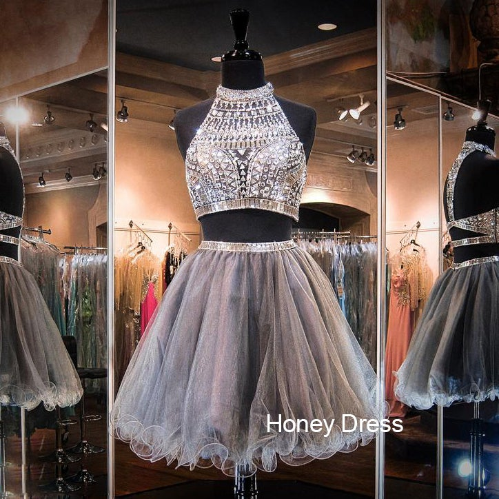 Image of Grey Two-Piece Sheer Illusion Halter Tulle Beaded Bodice Short Prom Dress, Cut Out Cocktail Dress