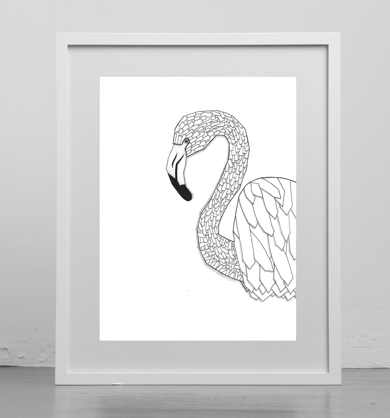 Image of Print : Geometric Flamingo
