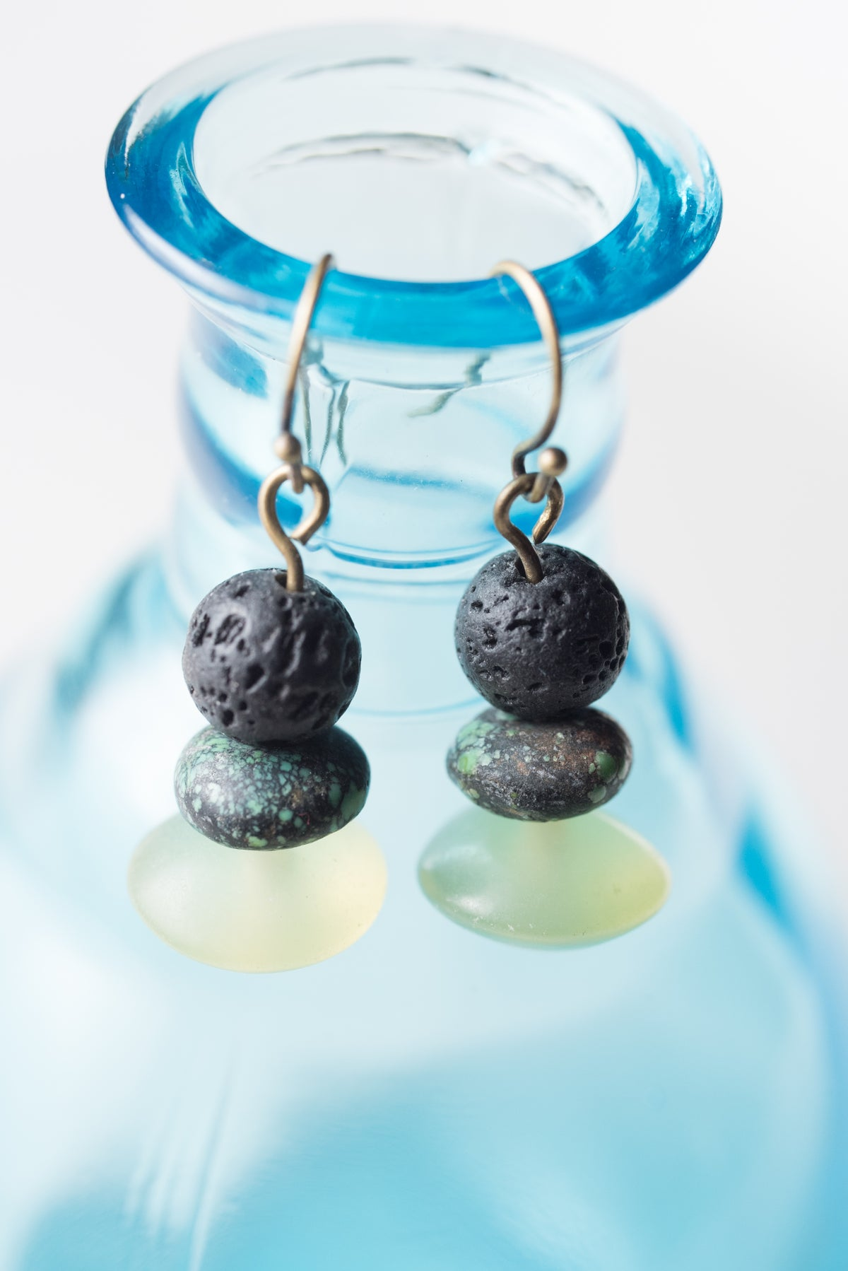 Image of Lava Stone, Turquoise, and Afghan Jade Earrings