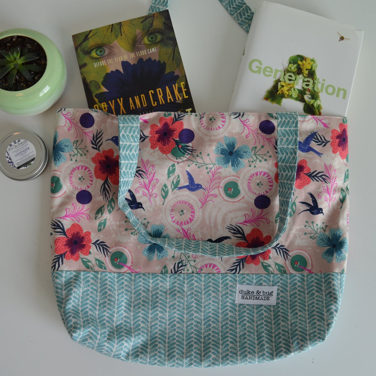 Image of Floral Hummingbird Tote Bag