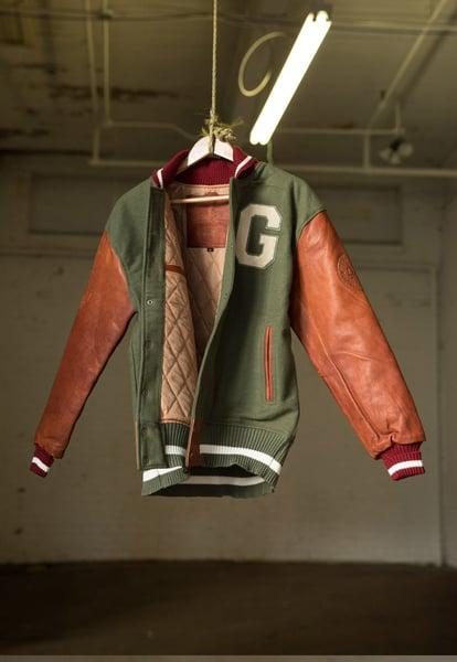 Image of Vintage Varsity Jacket   Olive & Cognac