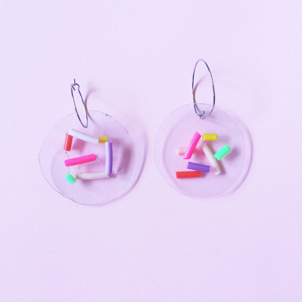 Image of Neon Confetti party-  hoop earrings