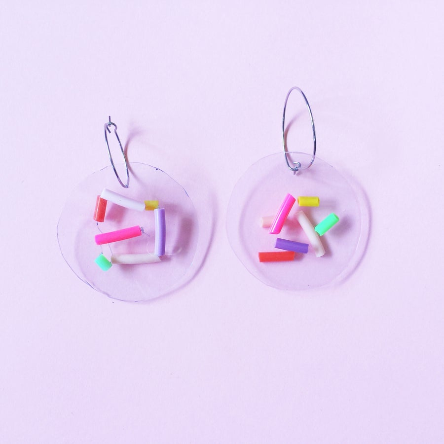 Image of Confetti party-  hoop earrings