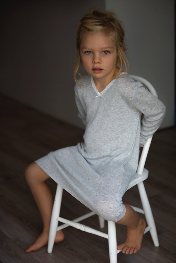 Image of GIRLS HEARTS GOWN 3/4 Sleeve Grey Heather, Lt Blue, Lt Pink