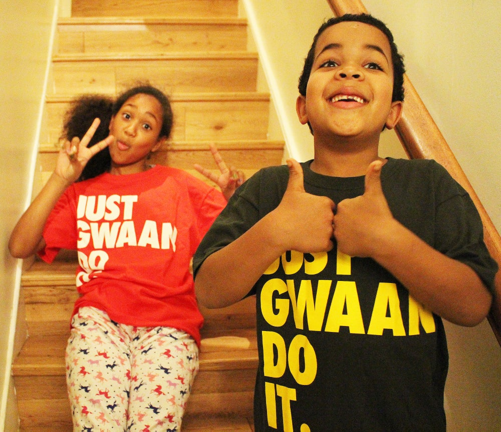 Image of JUST GWAAN DO IT T-Shirt Kids Tee - RED/GREEN