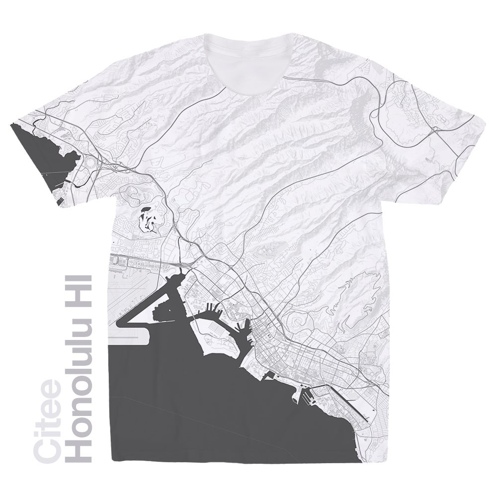 Image of Honolulu HI map t-shirt