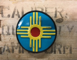 Image of NM LICENSE PLATE BELT BUCKLE TURQUOISE
