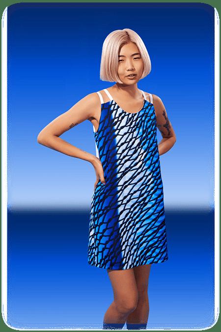 Image of Multi-Fabric Trapeze Dress