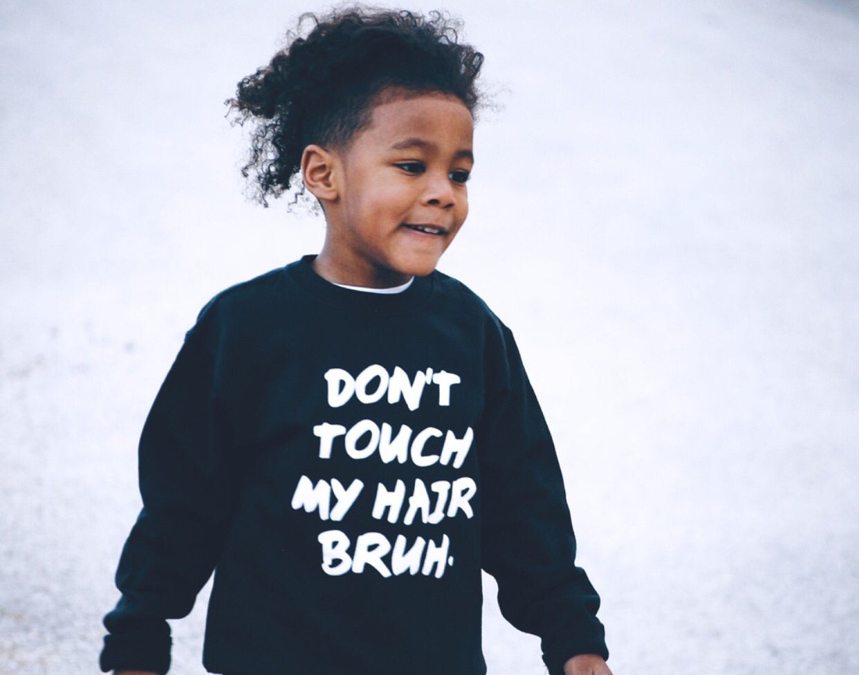 Image of Don't touch my hair bruh. - black- kids crewneck sweatshirt OR Hoody