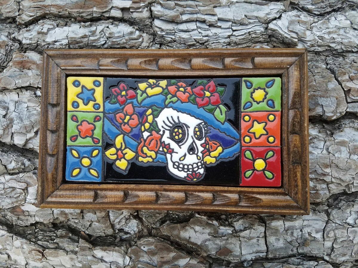 Image of La Catrina Flower Hat Rectangle Wood Framed Tiles