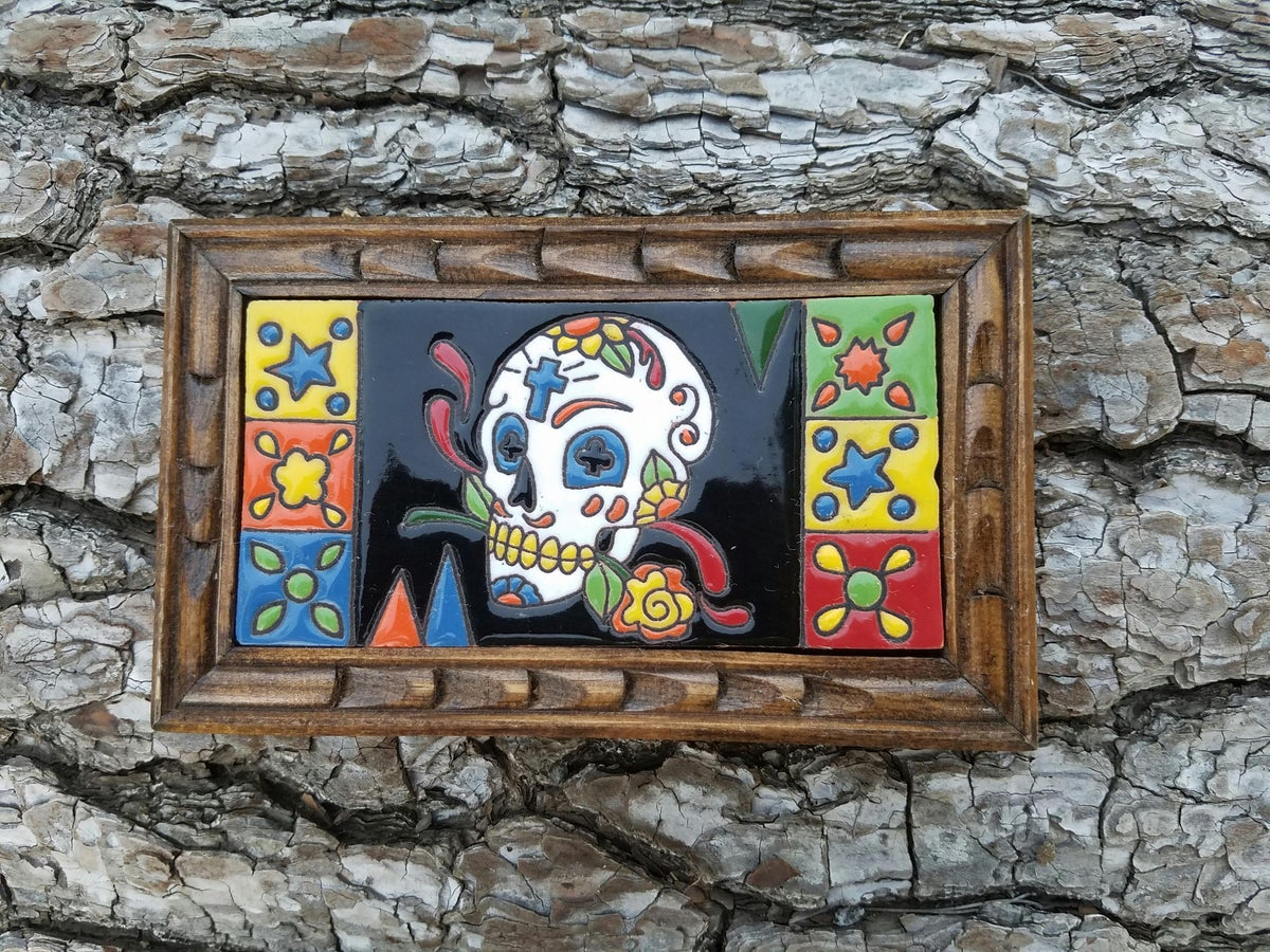 Image of Calavera Cruz Rectangle Wood Framed Tiles