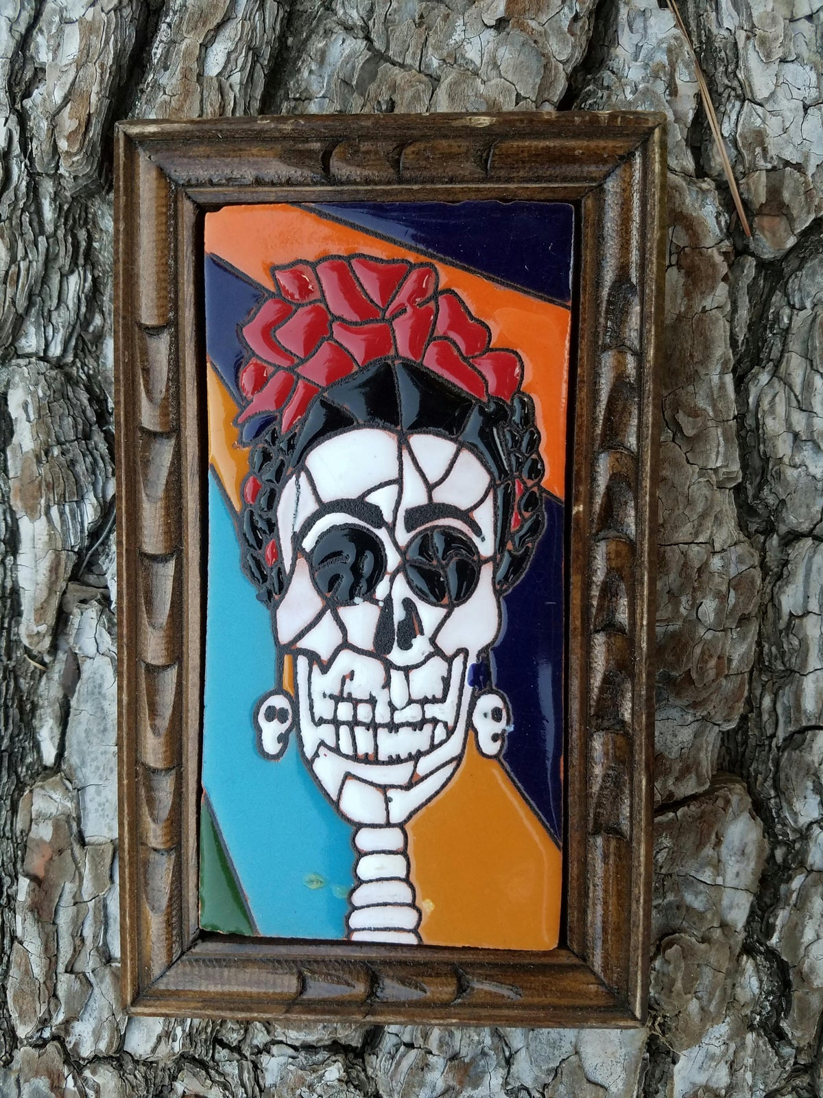 Image of Frida Mosaic Muerte Rectangle Wood Framed Tiles