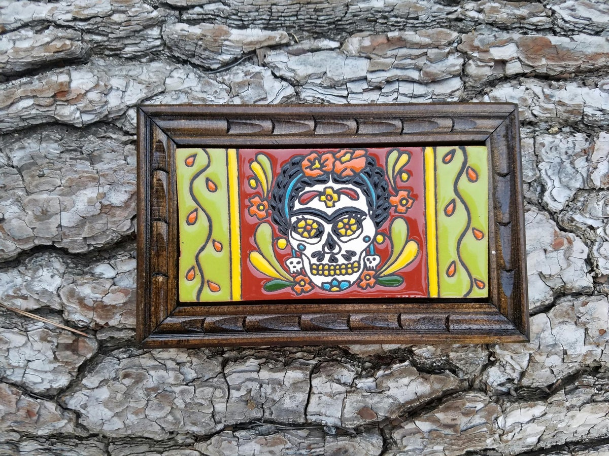 Image of Frida Muerte Rectangle Wood Framed Tiles