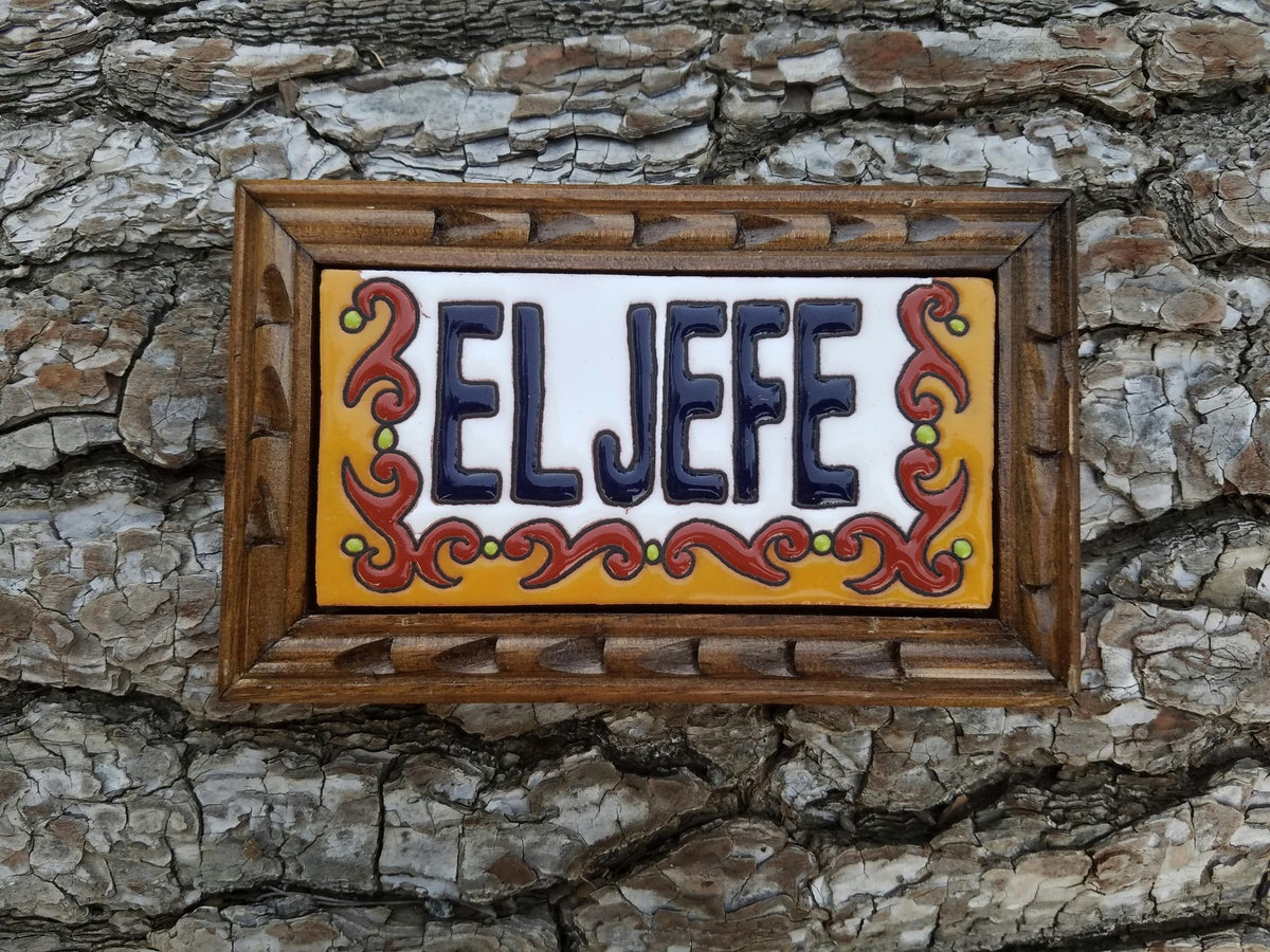 Image of El Jefe Rectangle Wood Framed Tiles