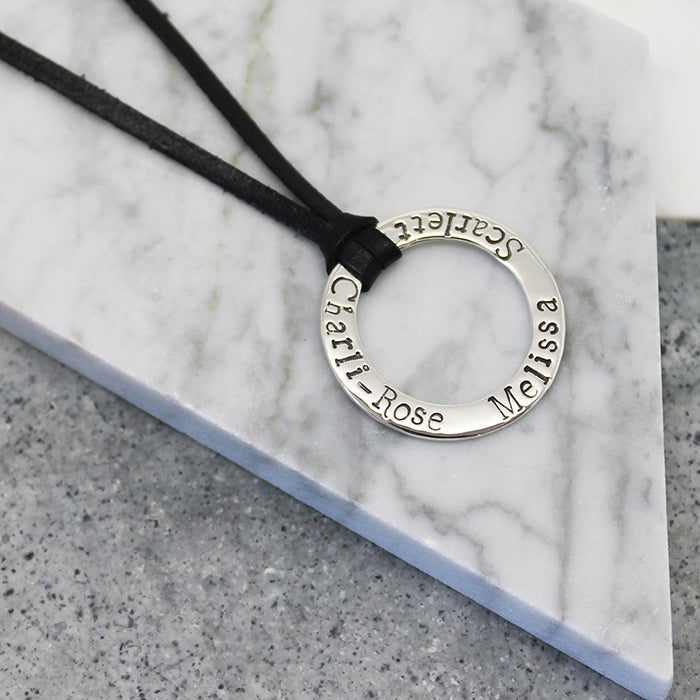 Image of Personalised Sterling Sliver Circle Pendant