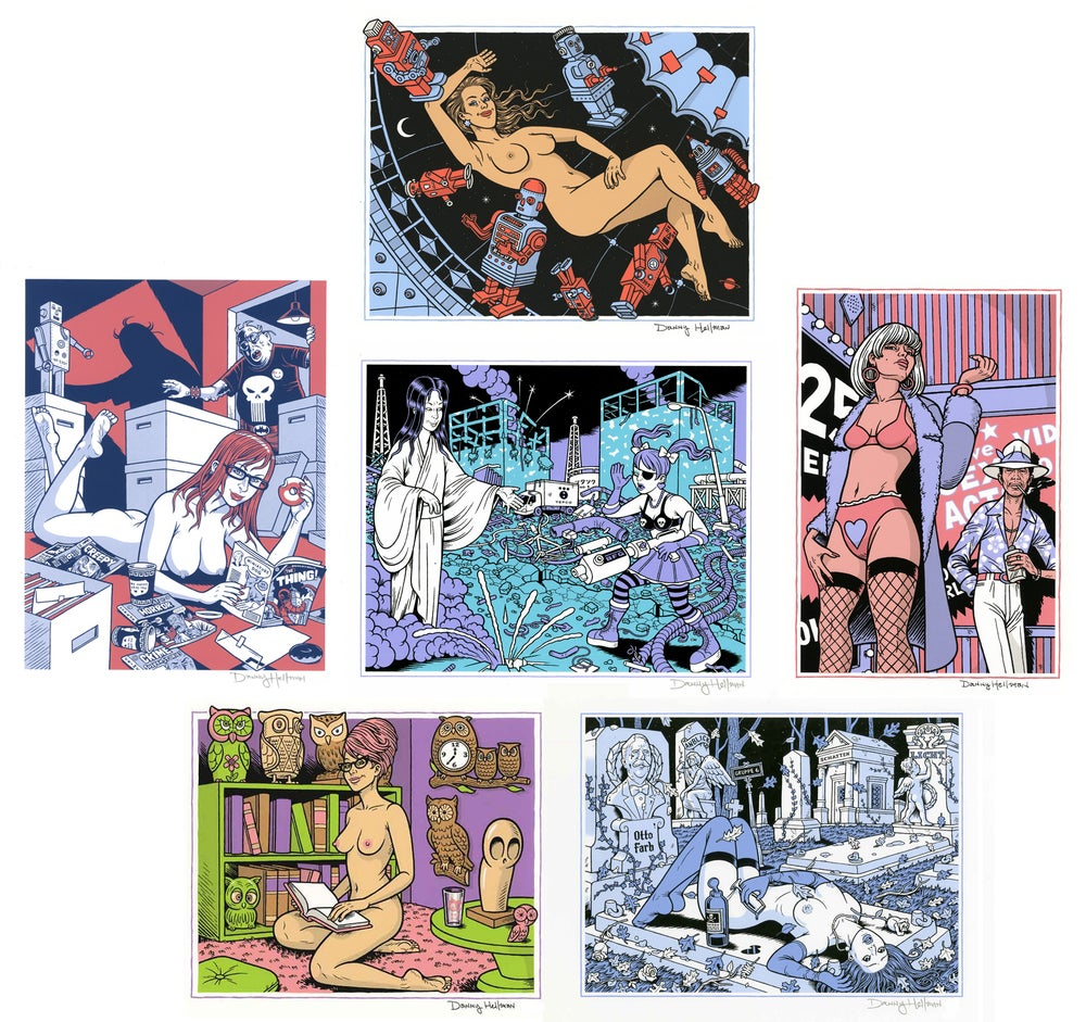Image of YEAR-END PRINT BONANZA: Six Signed Screen Prints by DANNY HELLMAN