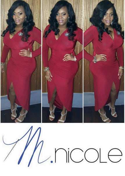 Image of M.Nicole Closet | Red Fitted Wrap Dress