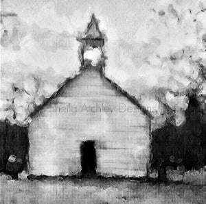 "Image of Cades Cove Primitive Baptist Church 24""x24"" giclee"