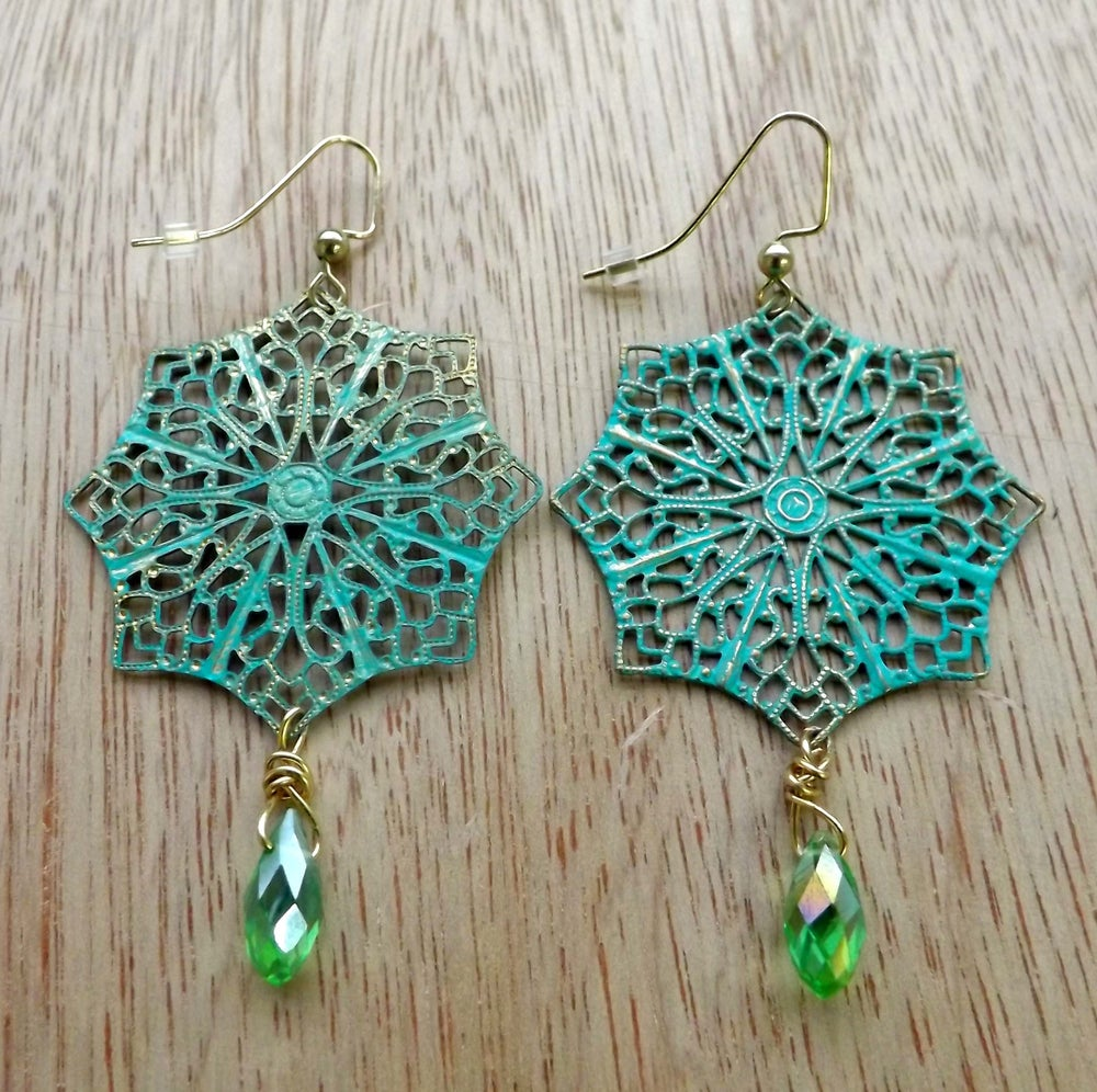 Image of Green Filigree Earrings