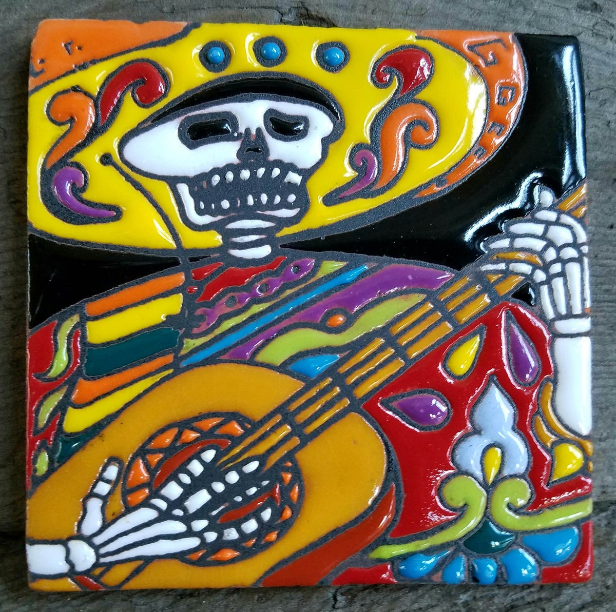 Image of Skull Guitar Coaster Tile