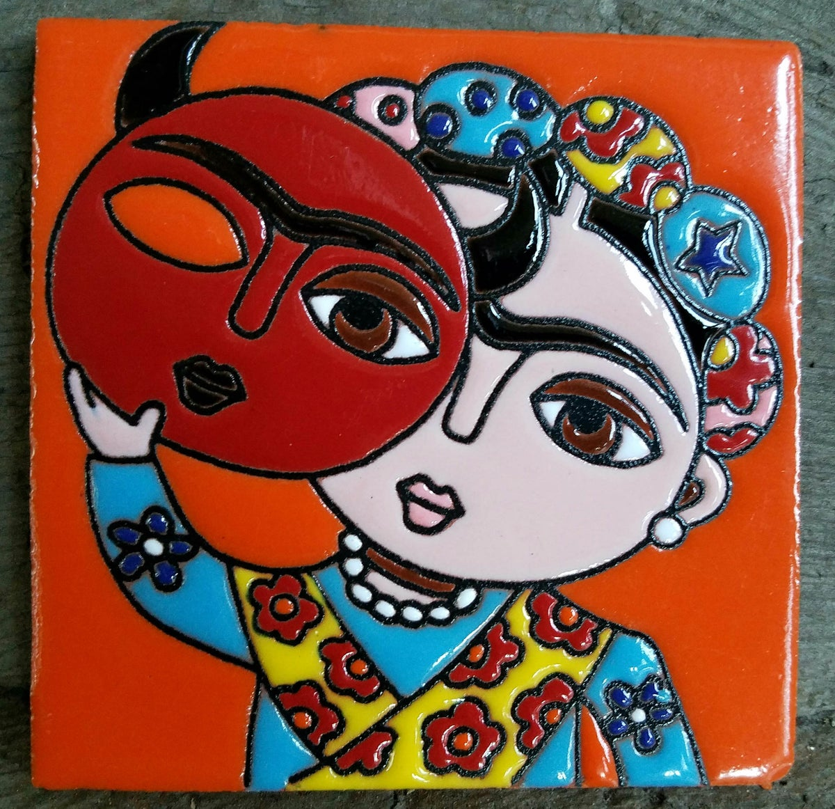 Image of Mini Frida Mask Coaster Tile