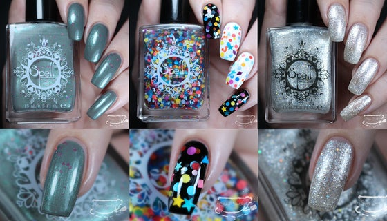 Image of ~Rainbow Balloon Festival~ 3-trio set LIMITED EDITION nail polish shimmer, crelly, glitter!