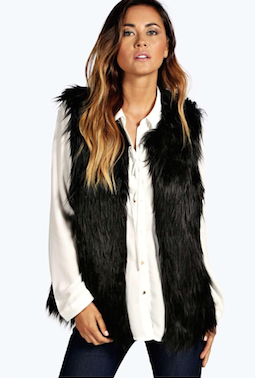 Image of Black Faux Fur Vest