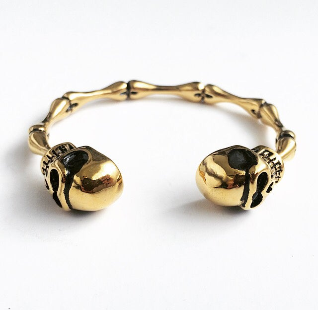 Image of DOUBLE HEAD SKULL BANGLE ~ GOLD