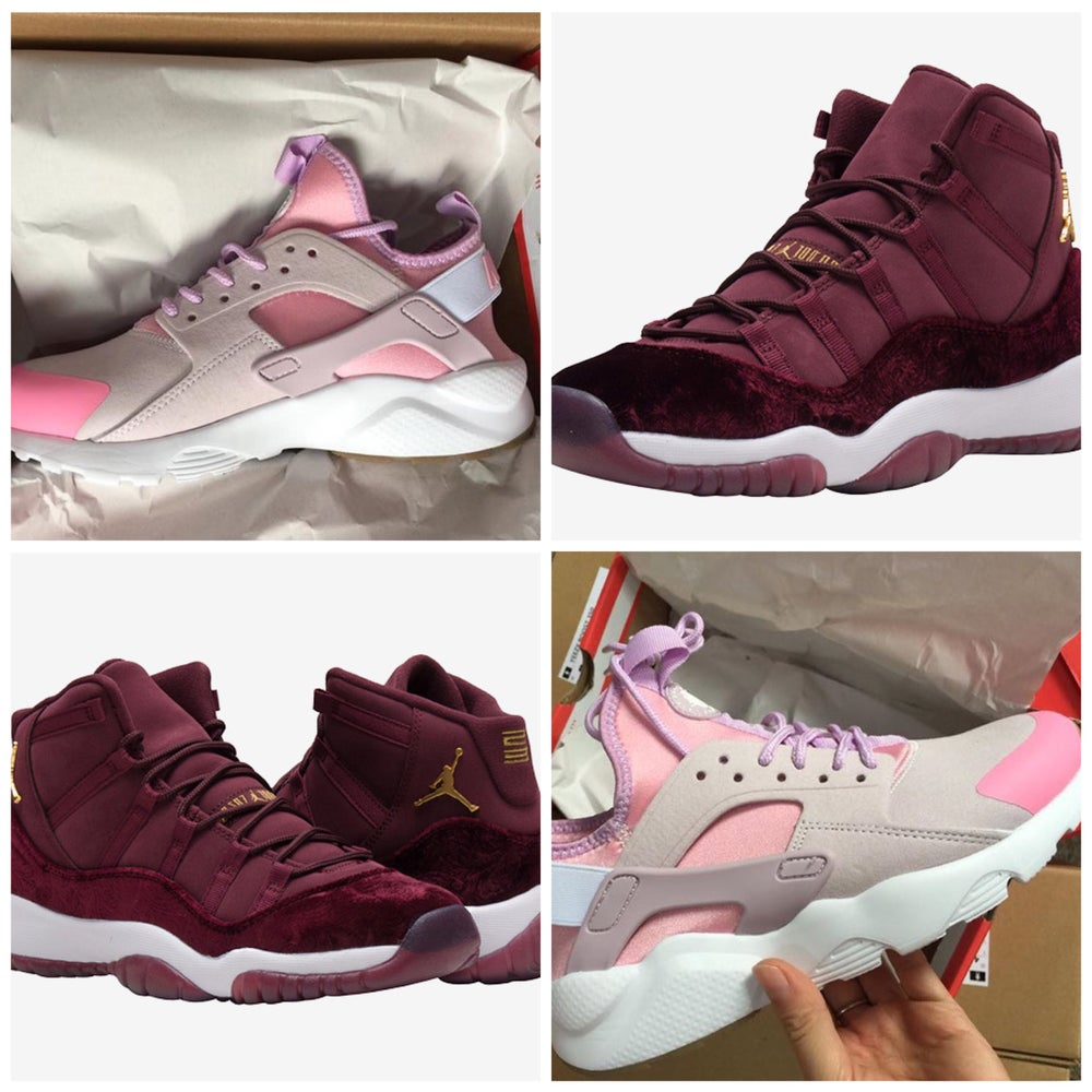 "reputable site b5609 540a7 Air Jordan 11 Velvet ""Night Maroon""/ pink/grey women huaraches"
