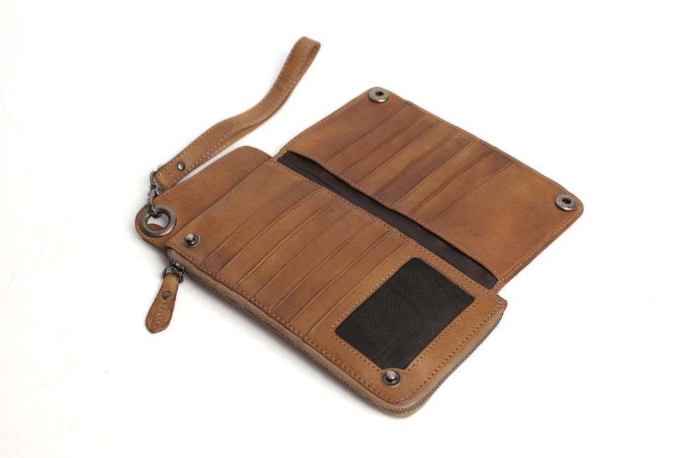 Image of Handmade Vegetable Tanned Full Grain Leather Wallet, Long Purse, Button Clutch 9028