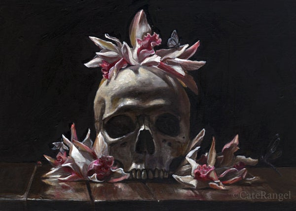 Image of Skull with Cymbidium Orchids - Limited Edition Print