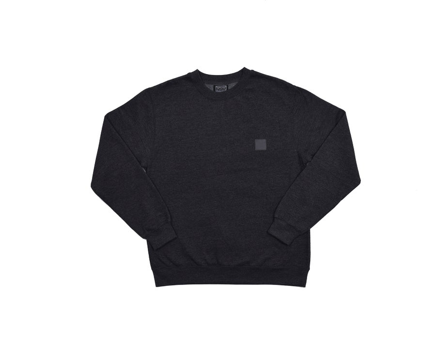 Image of RWLS LEATHER CREW NECK HEATHER GREY