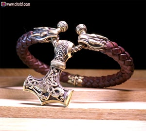 Image of Leather Torc Bracelet / Wolfs / Brown