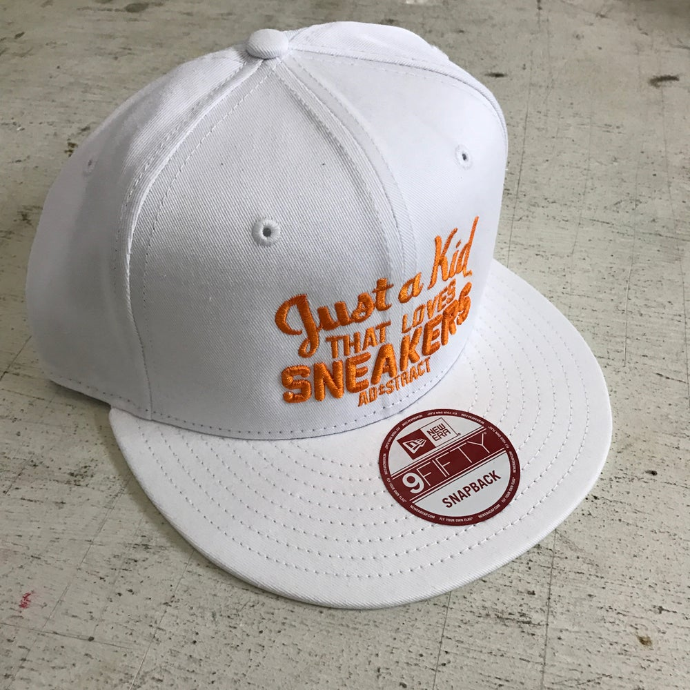 """JUST A KID THAT LOVES SNEAKERS """"ORANGE EMBROIDERY"""" DAD HAT"""