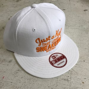 "Image of JUST A KID THAT LOVES SNEAKERS ""ORANGE EMBROIDERY"" DAD HAT"