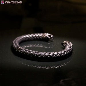 Image of Leather Torc Bracelet / Wolfs / Dark