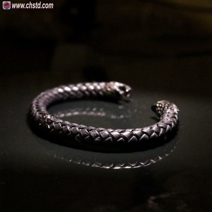 Leather Torc Bracelet / Wolfs / Dark