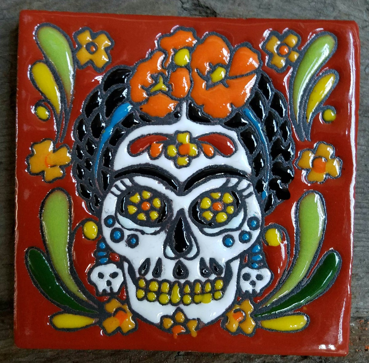 Image of Frida Muerto Skull Earrings Coaster Tile