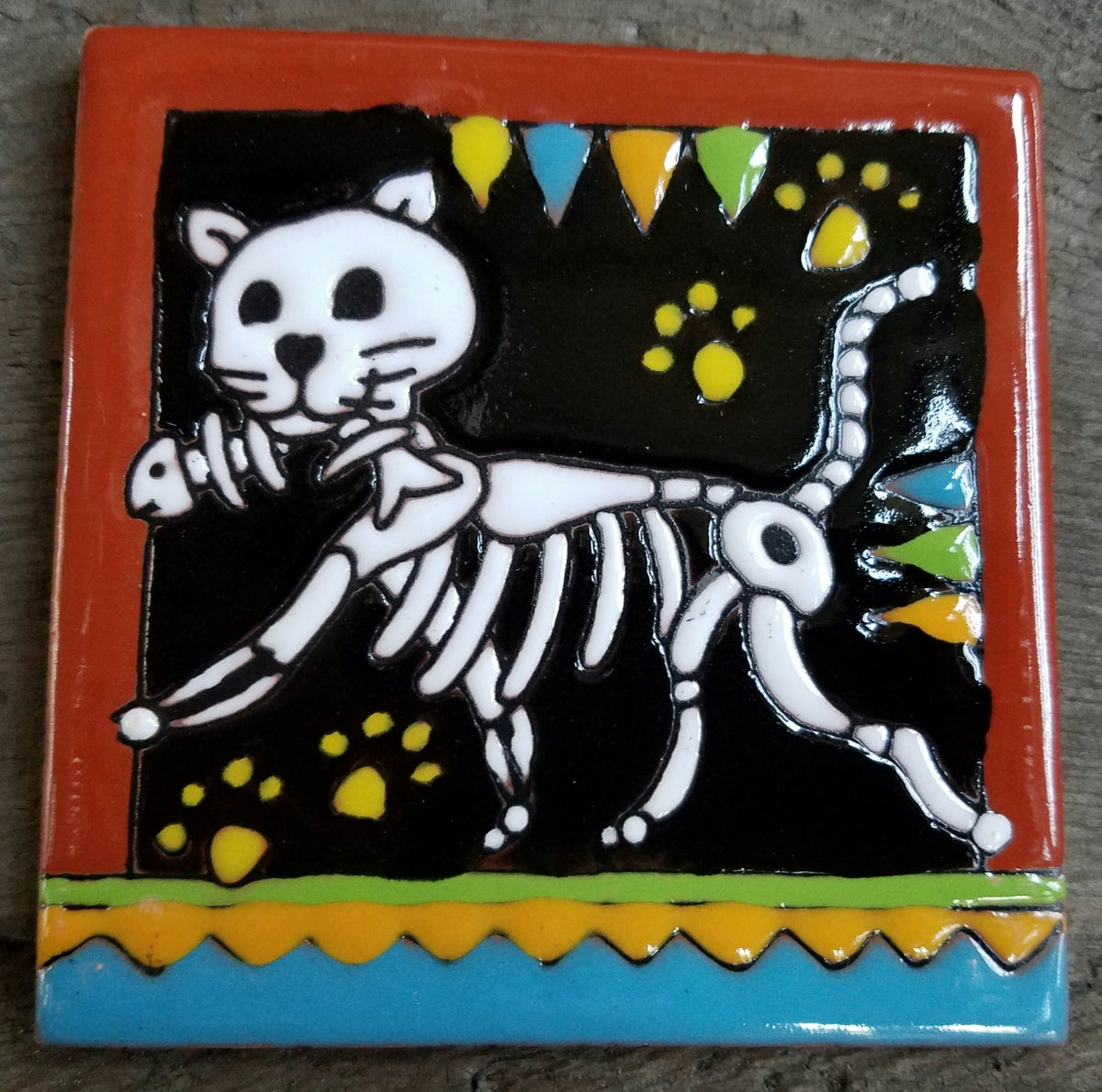 Image of Cat With Fish Coaster Tile