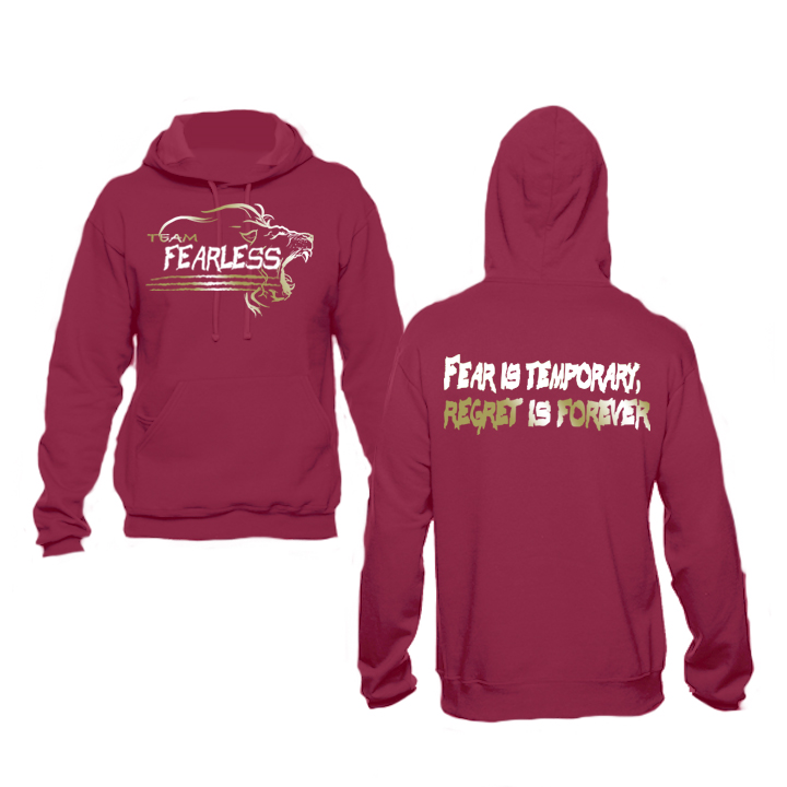 Image of TEAM FEARLESS GOLDEN 2017 HOODIE - MAROON WHITE GOLD, ARMY WHITE GOLD, BLACK WHITE AND GOLD