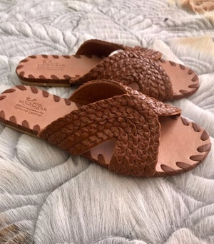 Image of Ladies Luna Leather plait slides - TAN