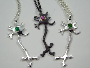 Image of Neural delight pendants, sterling silver, handmade with gemstone nuclei