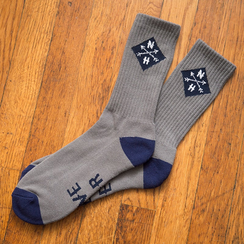 Image of Navy Blue/grey live free or die socks