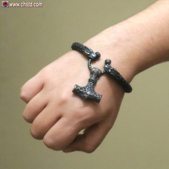 Leather Torc Bracelet / Wolfs / Dark<br>New Year >> SALE!<br>The price is reduced!
