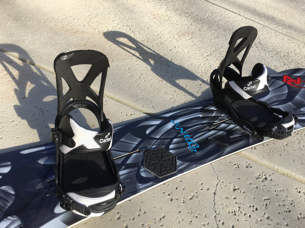 Image of Burton NUG 152cm Directional Snowboard with Burton Cartel xl bindings