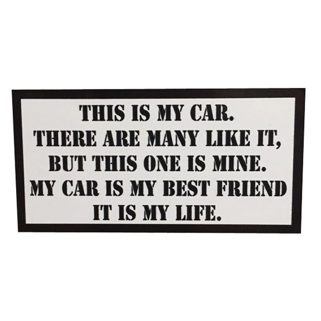 Image of This is my Car Rifleman's Creed Sticker by Seven 13 Productions