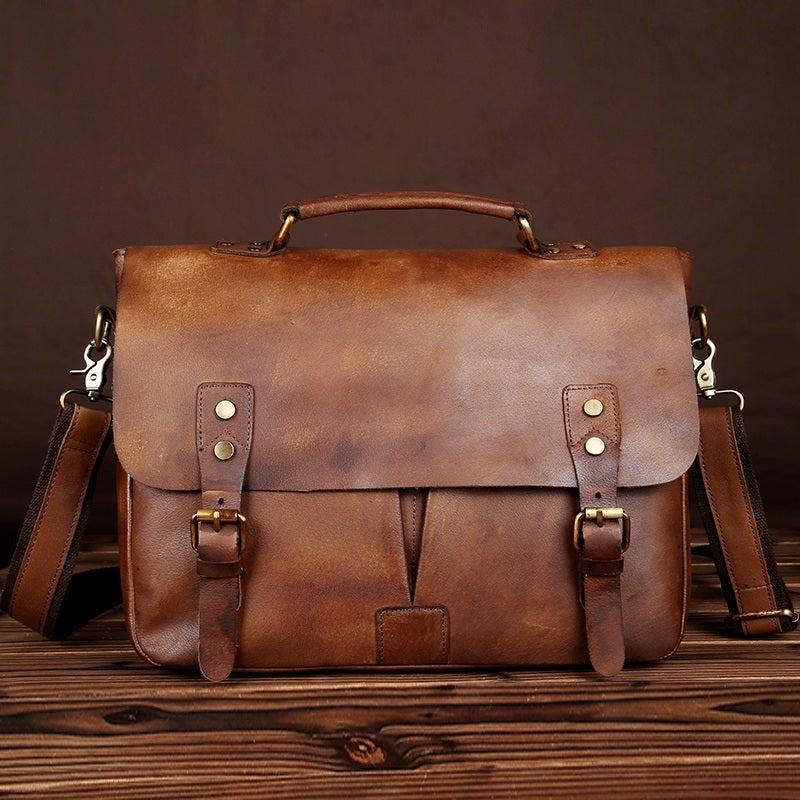 "Image of Handmade Vintage Leather Briefcase / Messenger Bag / 11"" 13"" MacBook 13"" Laptop Bag (n28)"