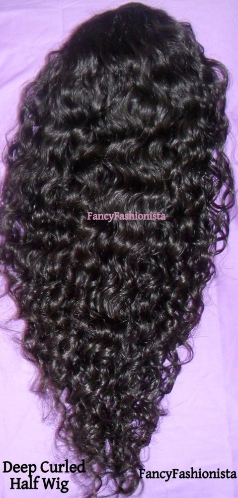 "Image of 16"" Curly Virgin Malaysian 3/4 Half Wig"