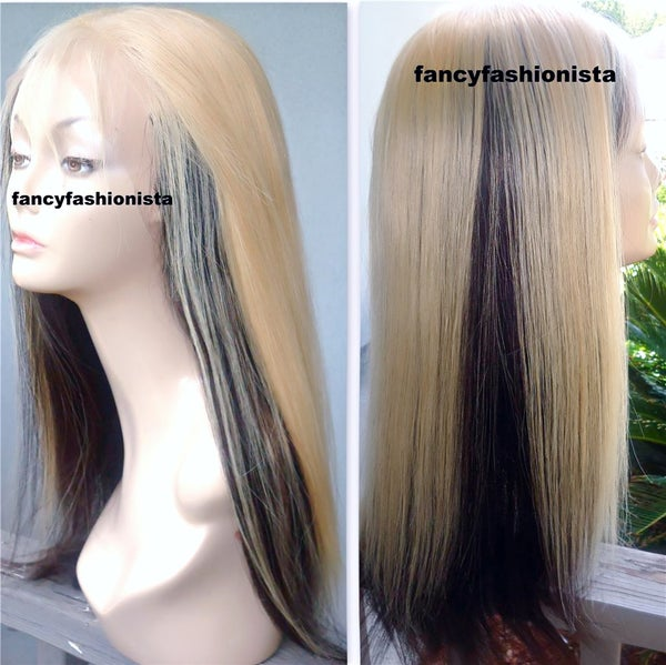 Image of Custom Virgin Brazilian (Processed) Full Lace Wig #613 Top 1B bottom